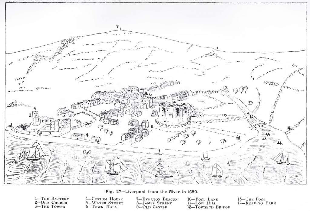 One of Ashton's two old maps of Liverpool - a sketch of Liverpool from 1920