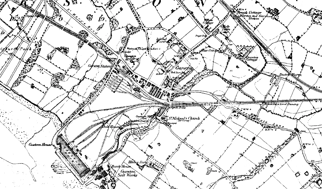 Ordnance Survey map of Garston from 1850, showing that the history of Garston involved the railways early on