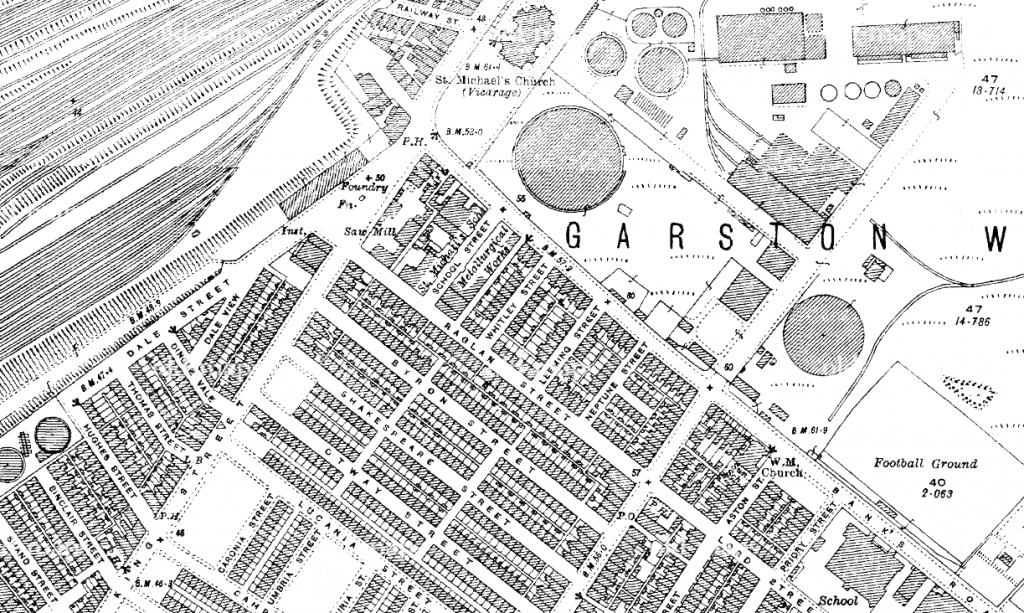 Ordnance Survey map of Garston from 1907