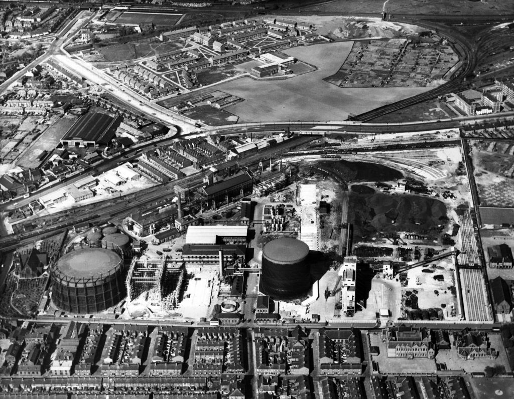 Aerial photograph of Garston Gasworks from 1956