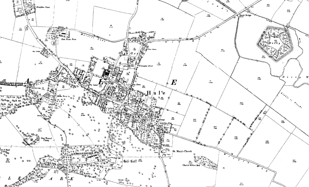 Map of Hale village, Lancashire, from 2893, at 1:2500 scale