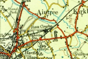 Aintree on the Ordnance Survey Road Map of Liverpool, Manchester and Chester map of 1927