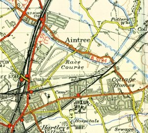 Aintree on the Ordnance Survey map of 1952