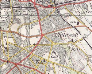 Ordnance Survey map of Childwall, 1947