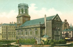 Painting of St. Peter's Church, Liverpool, from a postcard