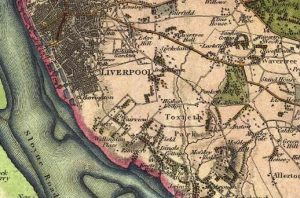 Map of Toxteth Park showing relation to Liverpool, from Greenwood's map of 1818