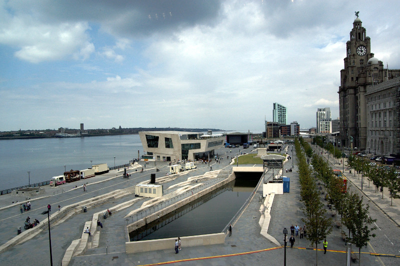 The Pier Head, Liverpool, from the Museum of Liverpool