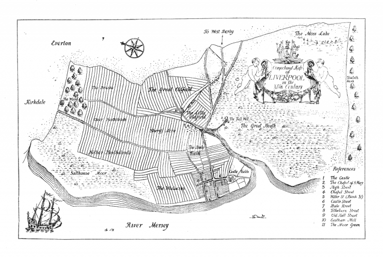 Map of Liverpool in the 14th century