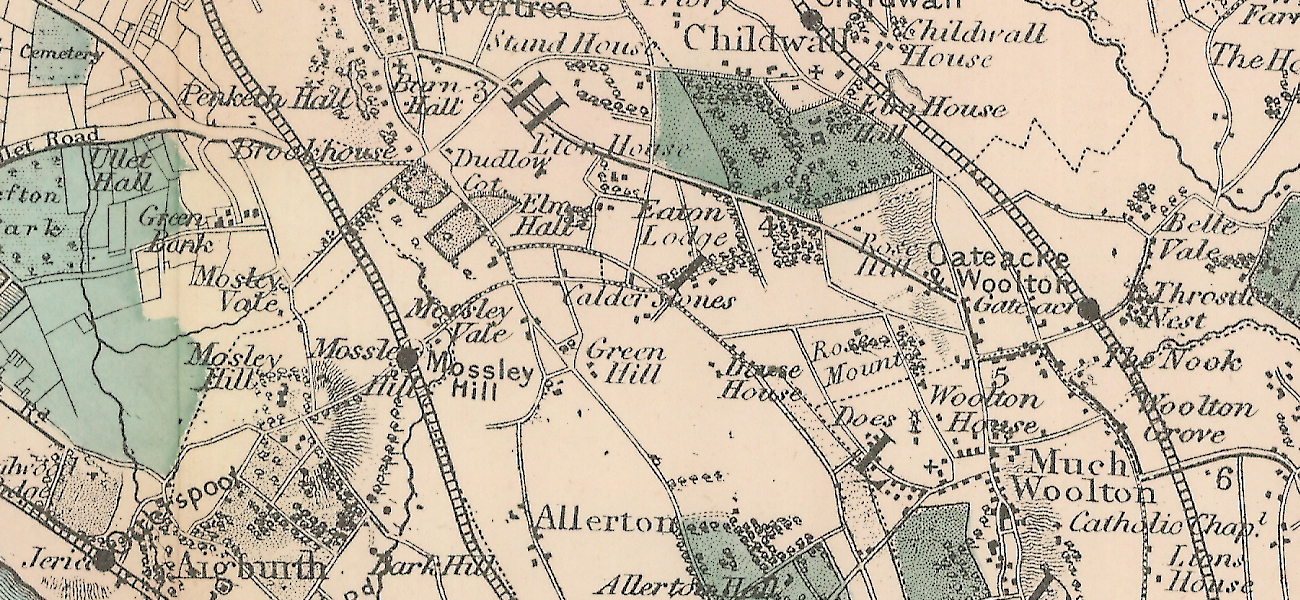 Map from 1885 centred on the Calder Stones, Liverpool