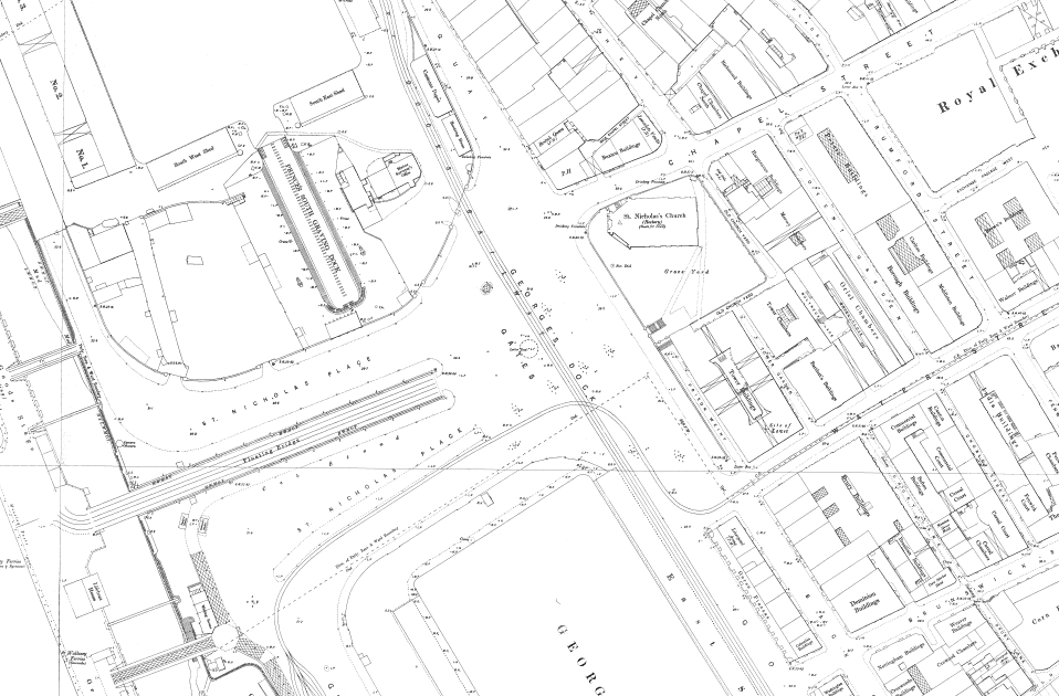 Map showing George's Dock Gates in 1893
