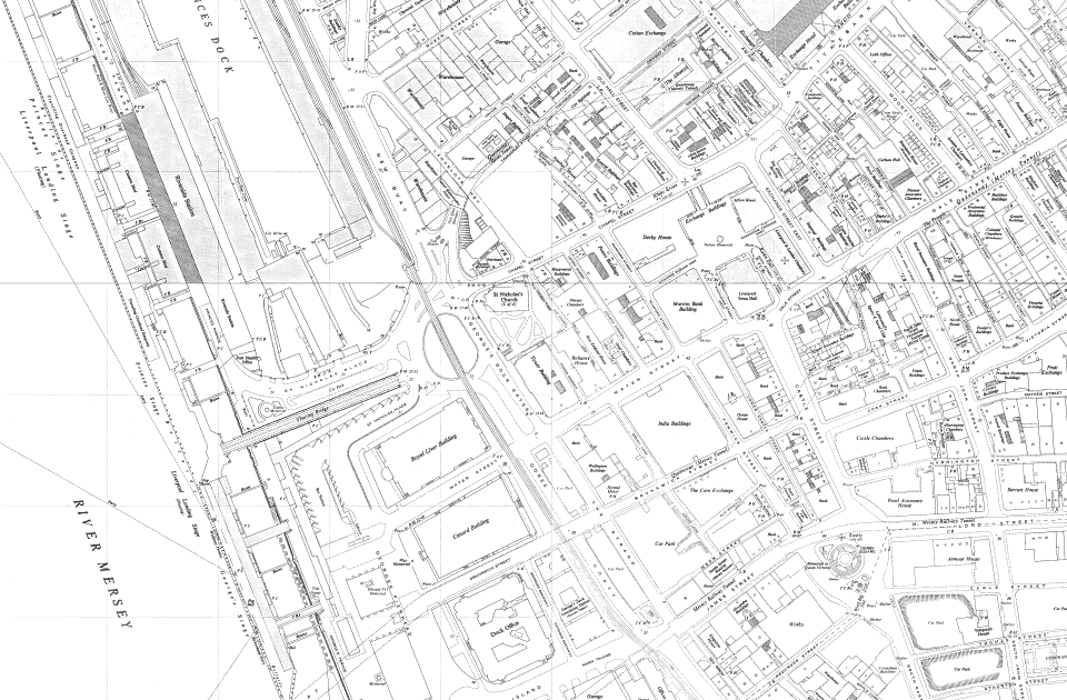 Map of George's Dock Gates in the 20th century