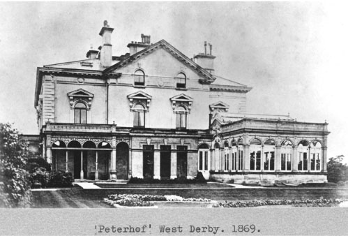 Peterhof, later Blackmoor, in West Derby, home of J.P. Blessig of Blessig's Style