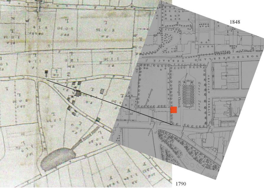 Map extracts from 1790 and 1848 showing location of Everton Beacon