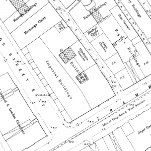 Ordnance Survey map of 1895, showing 11 Dale Street with crane