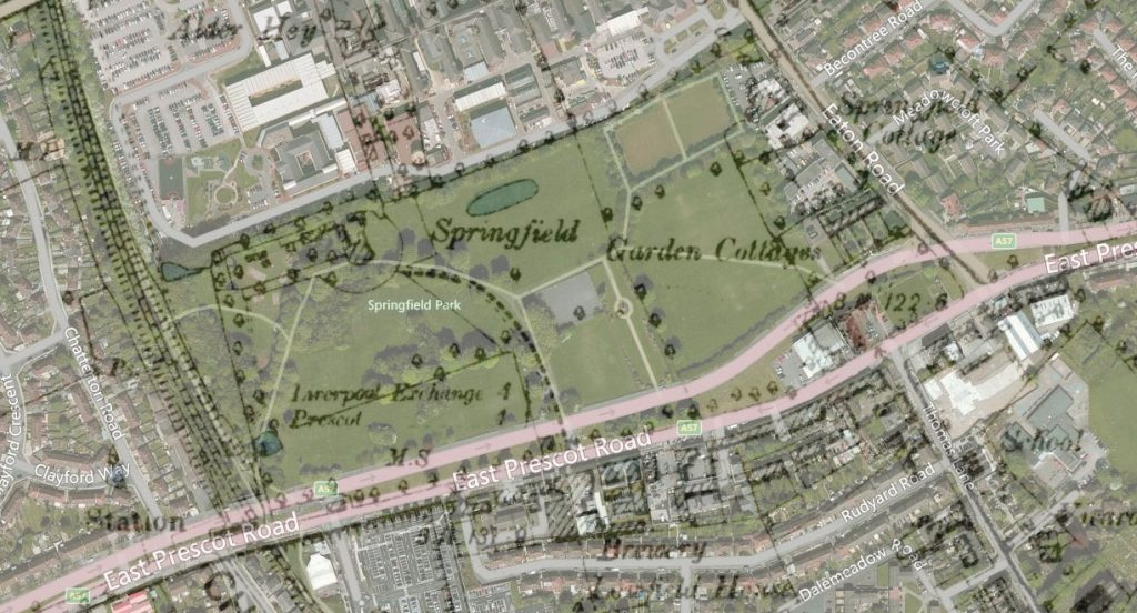 The Ordnance Survey of 1888 - 1913 overlaid on the modern satellite view, showing how elements of Springfield Park survive into the new