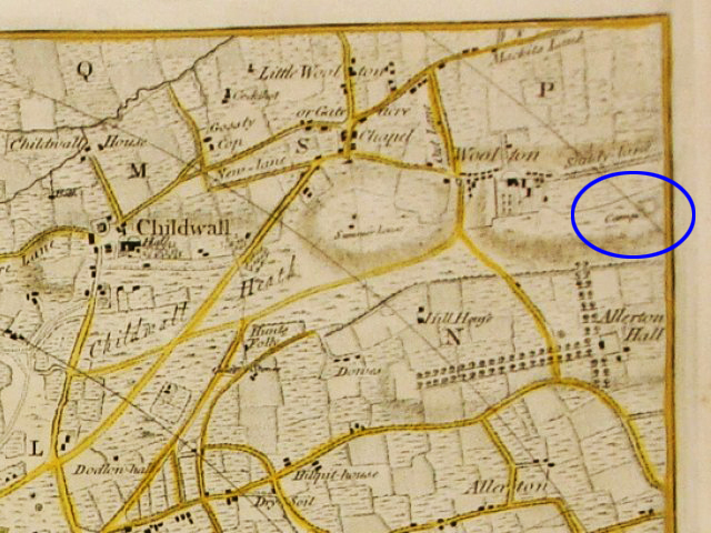 Extract from Yates and Perry's map of 1768, showing Camp marked