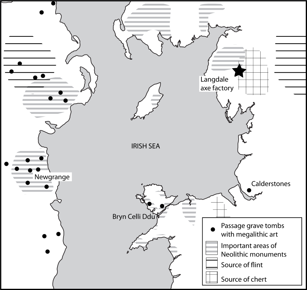 Map of Neolithic sites around the Irish Sea