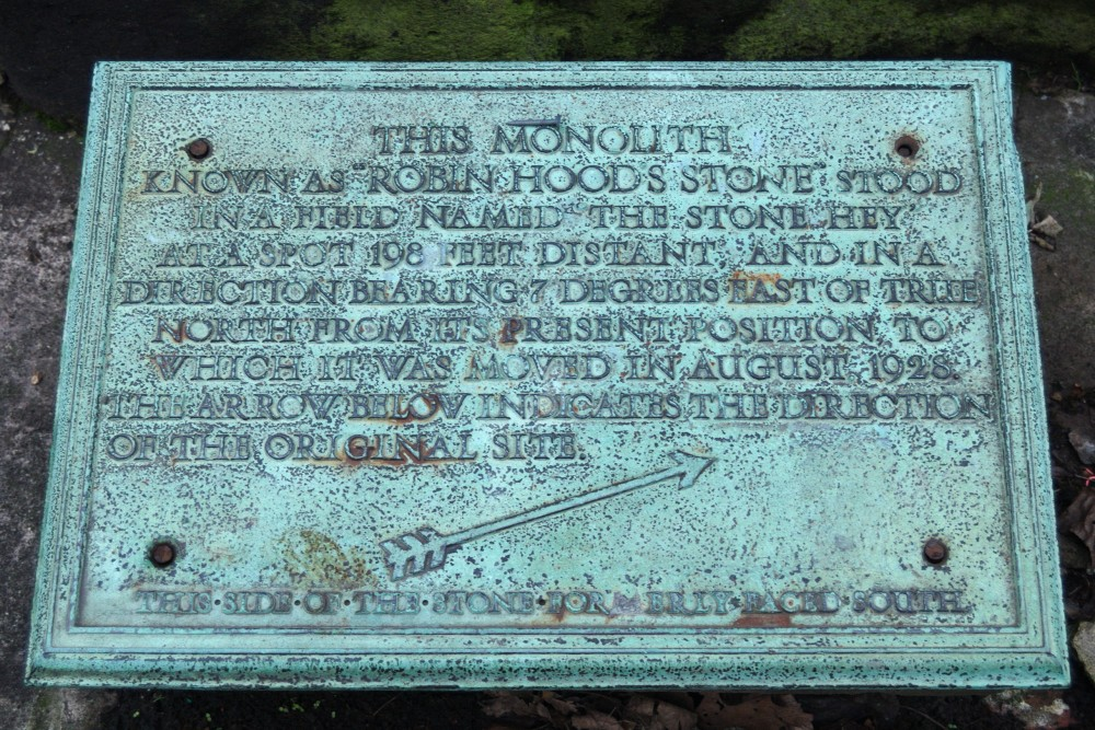 Robin Hood's Stone plaque