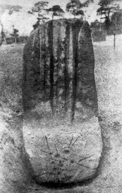 Photograph of Robin Hood's Stone under excavation