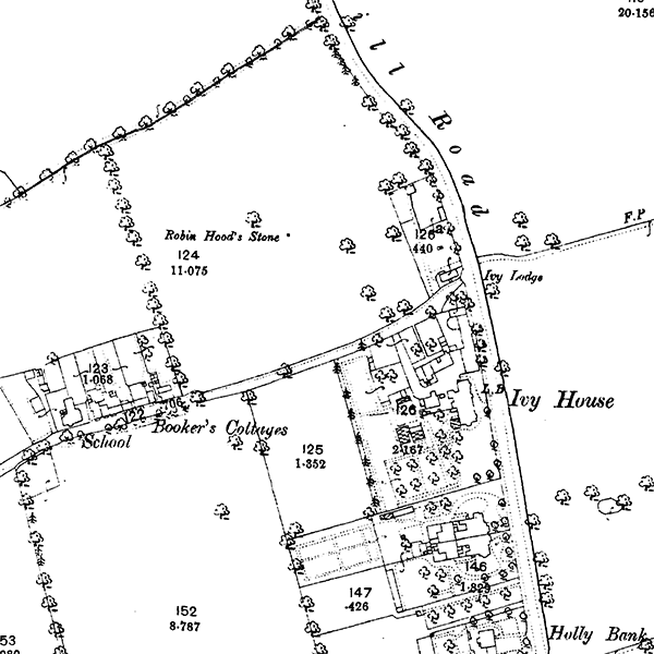 Robin Hoods Stone on an OS map from 1893