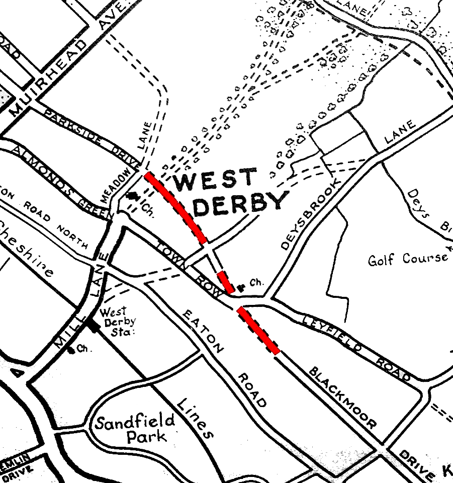 Map showing West Derby with proposed road scheme