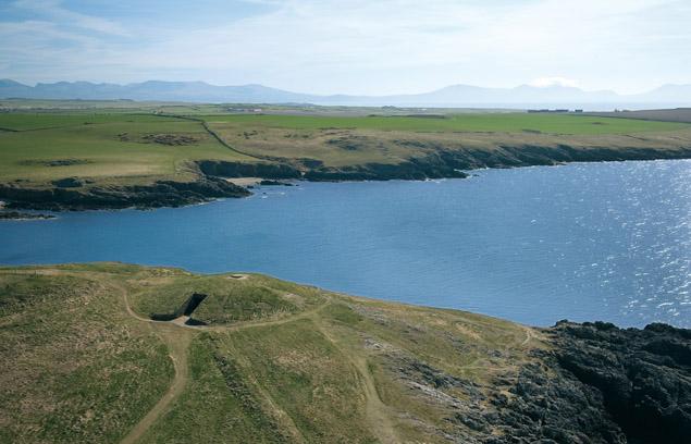 Aerial view of Barclodiad y Gawres