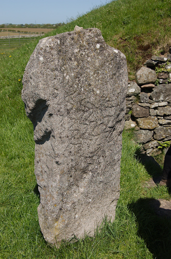 Photo of the replica Pattern Stone at Bryn Celli Ddu