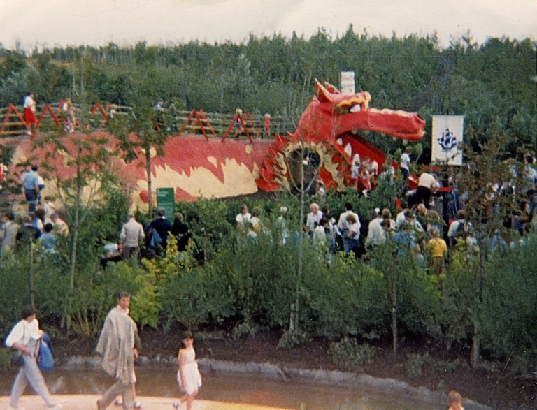 Photograph of the dragon slide at the International Garden Festival, Liverpool, 1984