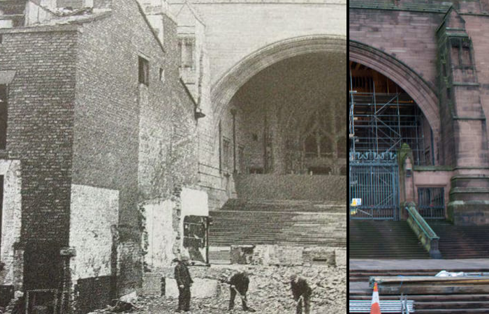 Photograph of Liverpool Cathedral in 1944 and 2017