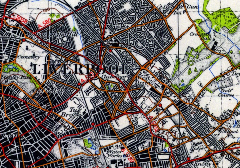 1945 OS Extract Map of Liverpool