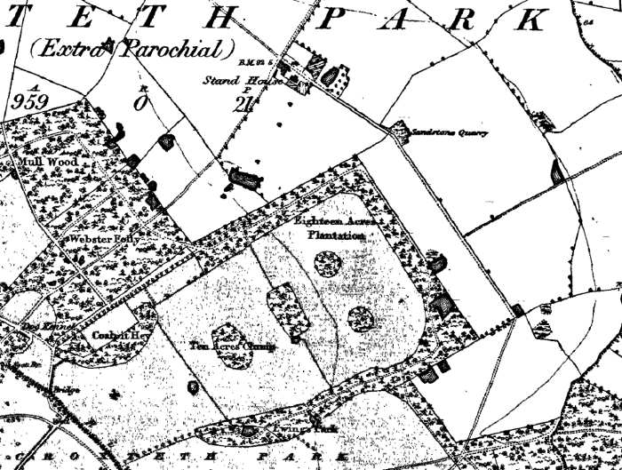 Extract of the 1851 OS map showing woodland in Croxteth Park