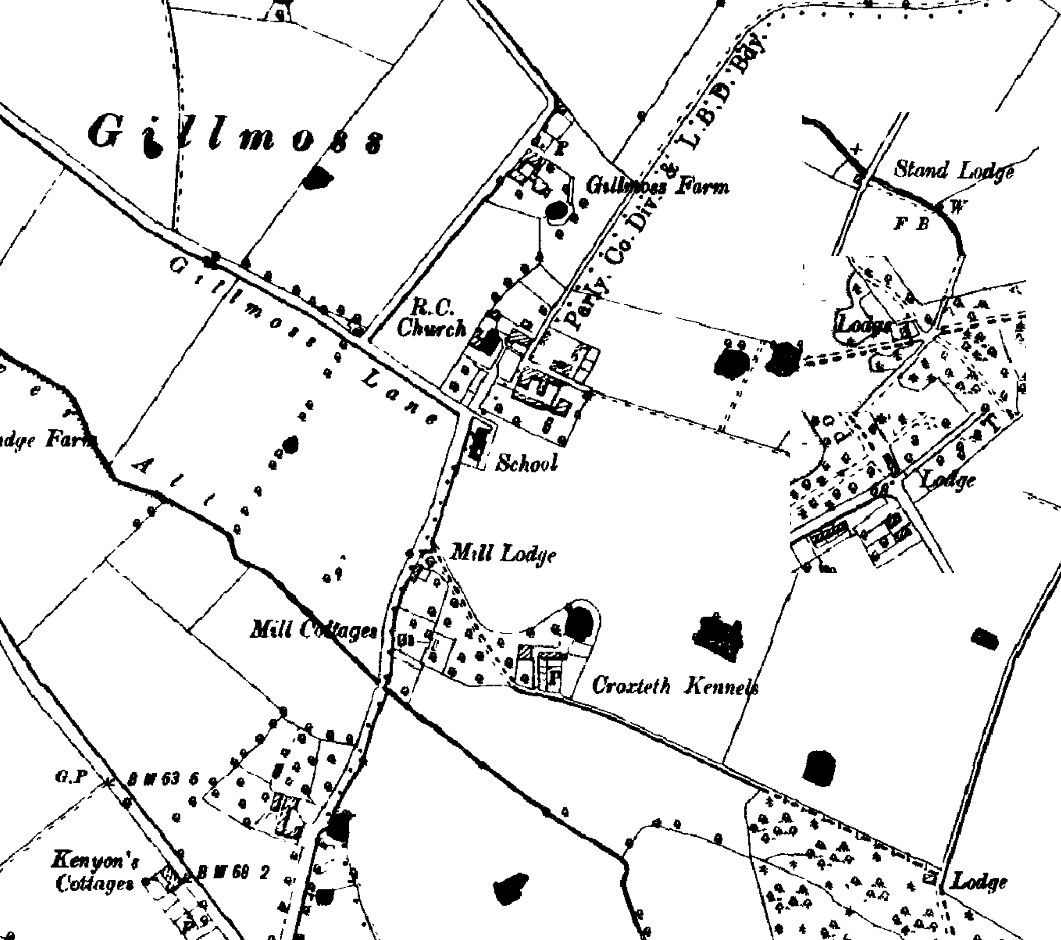 Extract of the 1891 OS map showing Gillmoss, with (inset) lodges around the park boundary
