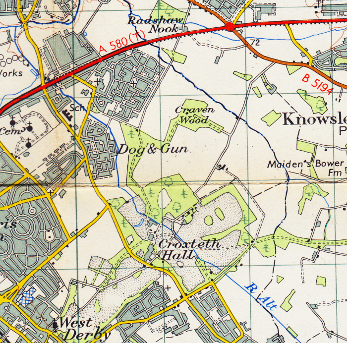 Extract of the 1947 OS map showing Croxteth Park township and the growing area of GillmossExtract of the 1947 OS map showing Croxteth Park township and the growing area of Gillmoss