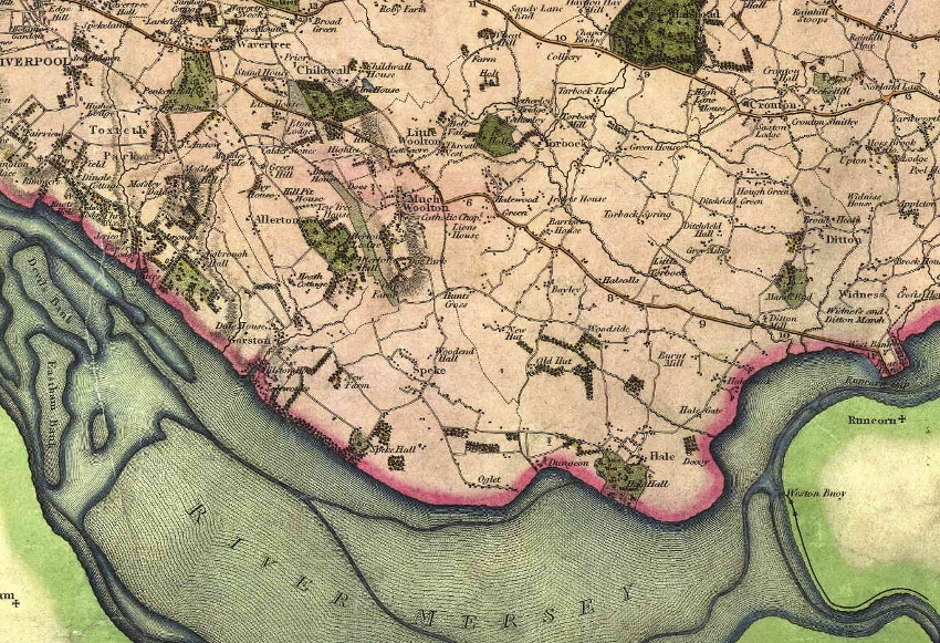 Extract from the Greenwood old map of Lancashire, 1818