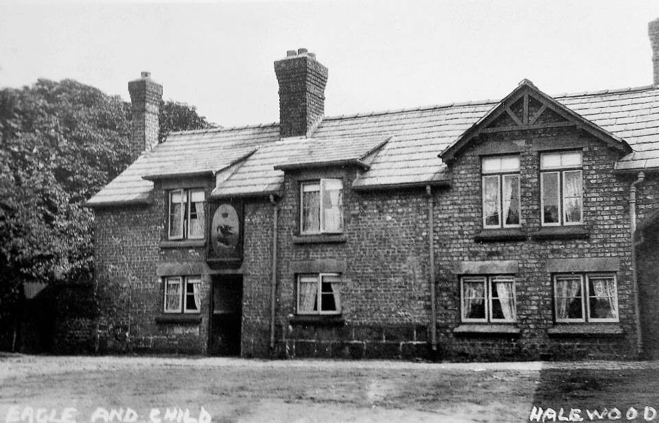 Old photograph of Eagle and child pub, Halewood