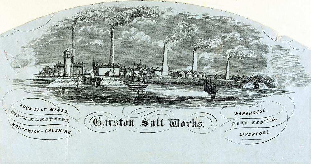 Engraving of Garston Salt Works, seen from the River Mersey in the 17th century