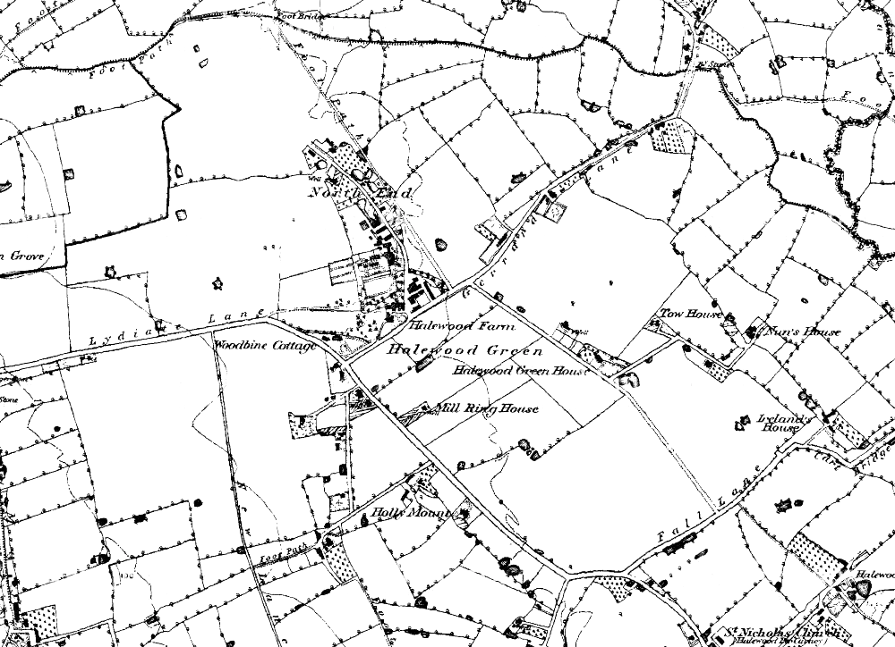 Halewood, on a map from 1849