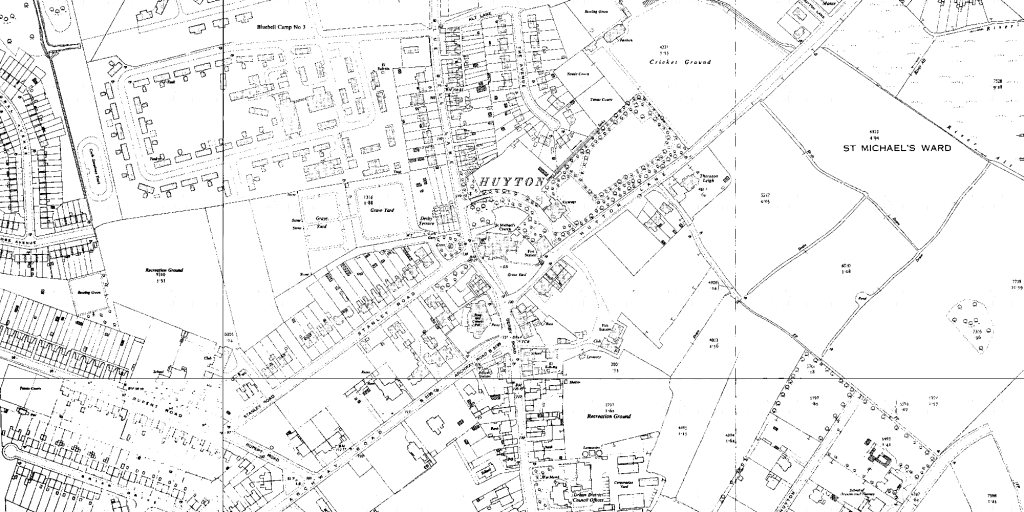 OS map of Huyton, 1955-6 (1:2500)