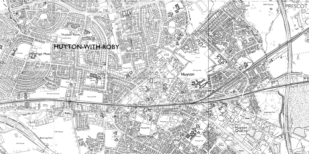 OS map of Huyton, 1990-1, (1:10,000)