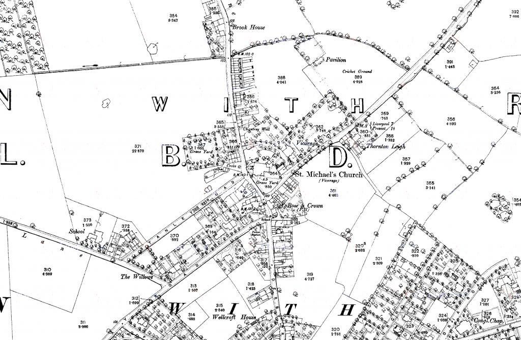 1850 map showing the area covered by the Huyton townfield