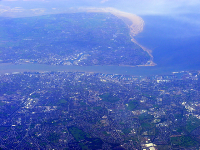 Photograph of Liverpool taken from an aeroplane