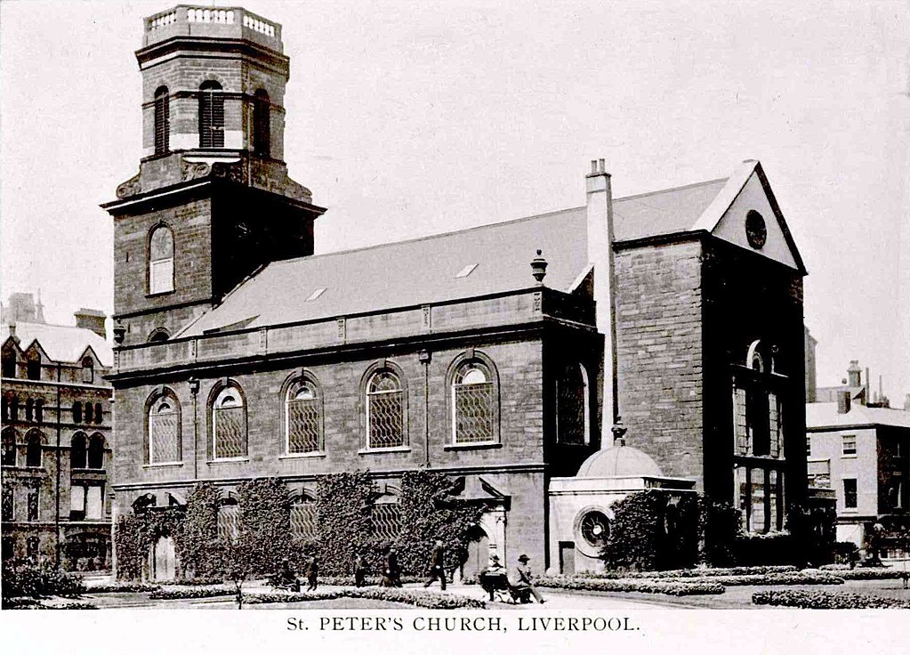 Postcard of St Peter's Church. Liverpool
