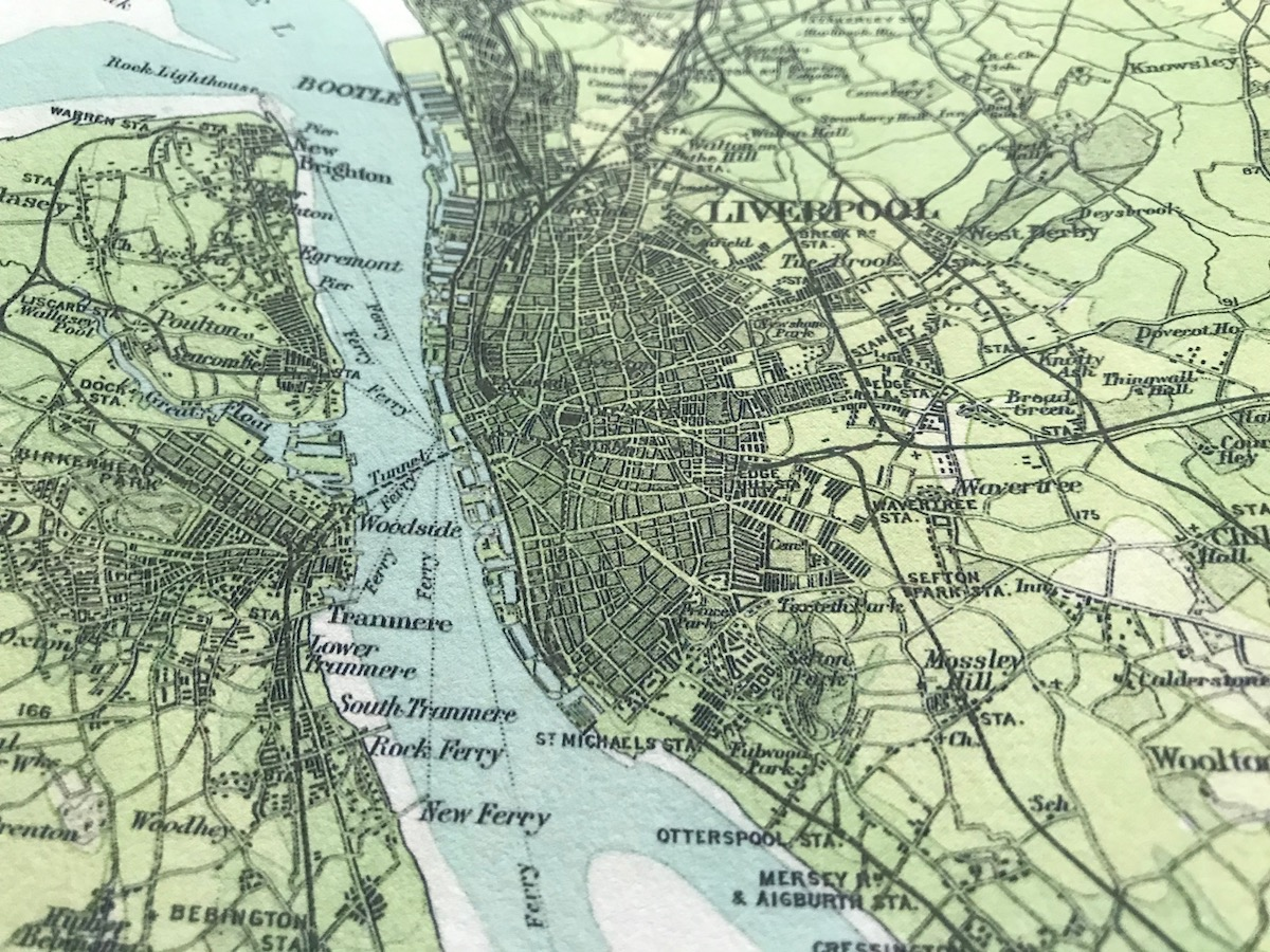 Detail of Liverpool city on an old map