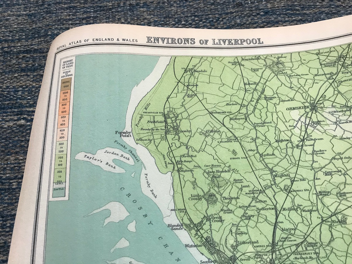 Detail of height colouring on old map of Liverpool
