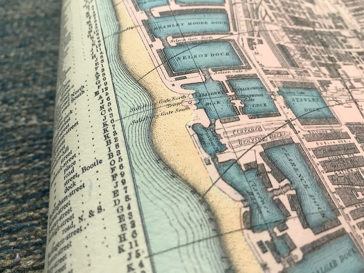 Detail of docks on a map of Liverpool