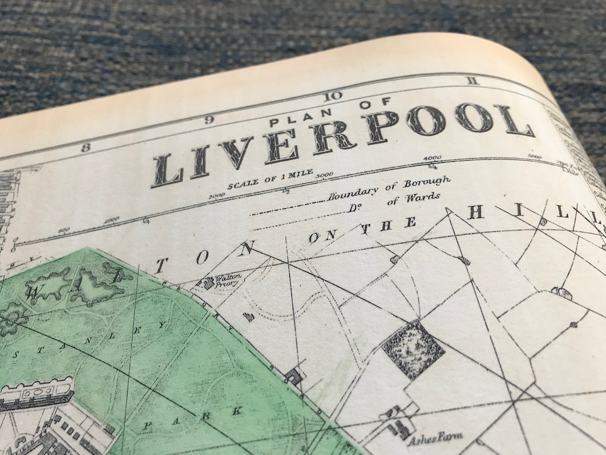 Details of heading on a map of north Liverpool