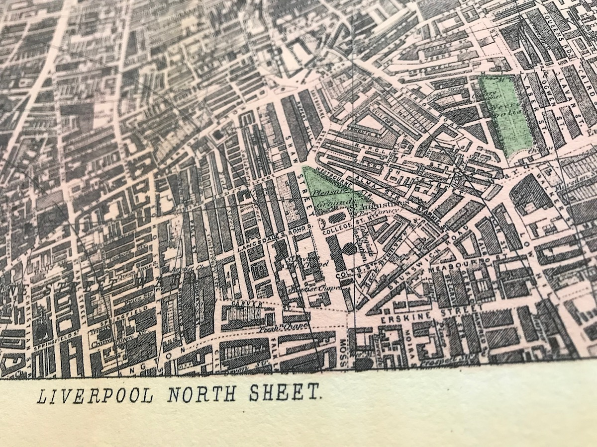 Street details on a map of Liverpool