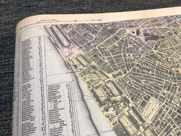 Docks on a map of Liverpool