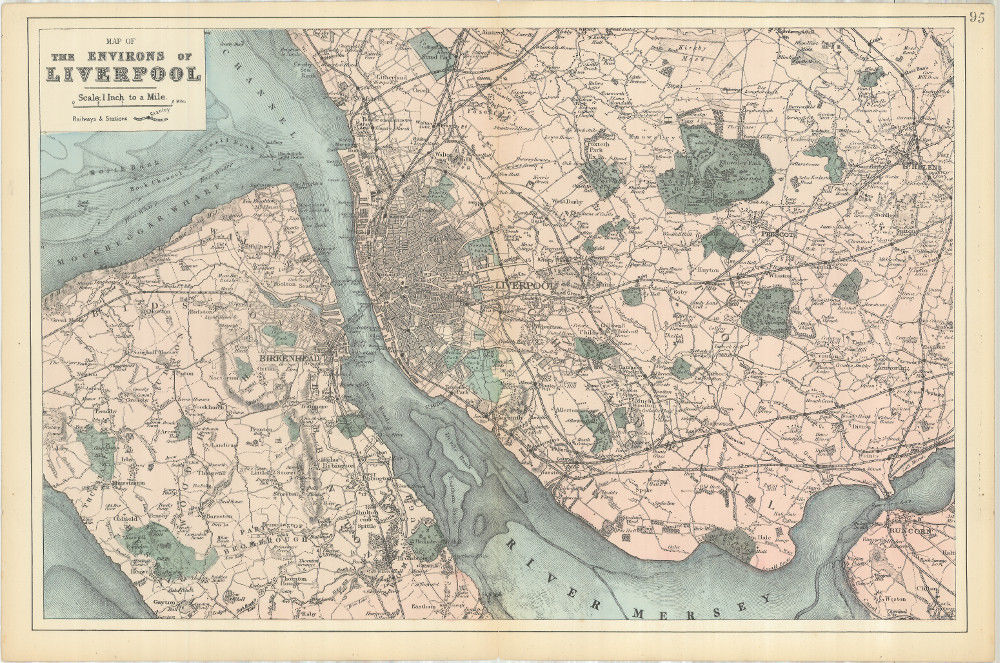bacon s map of liverpool 1885 print of old map of liverpool