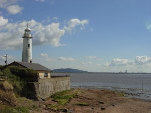 Photograph of Hale Lighthouse, where Hale Ford once crossed the Mersey